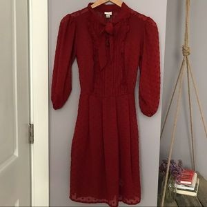 A New Day Red Waist Defined Dress